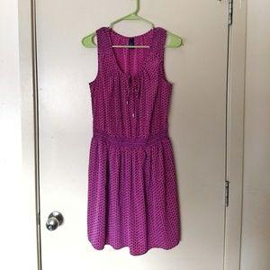 Gap Pink Blue Pattern Tie Front Smocked Mini Dress